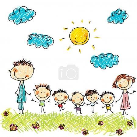 Illustration pour Grande famille - image libre de droit