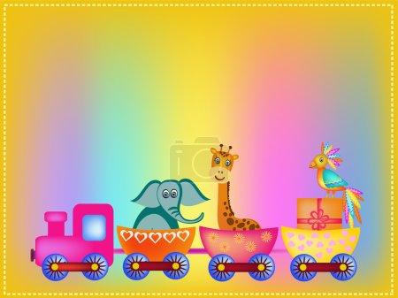 parrot, giraffe, elephant  in train frame