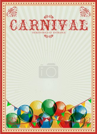 Carnival background. Colorful balloons. Circus. Vintage poster. Invitation.