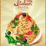 Постер, плакат: Italian pasta Spaghetti with sauce Restaurant menu Poster in vintage style