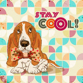 Dog hipster with bow. Retro poster in disco style.