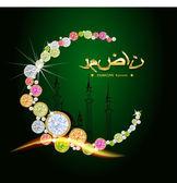 Shiny decorative moon on green background for Muslim community festival Eid Mubarak.