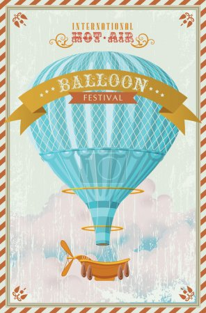Vintage hot air balloon in the sky vector. illustration. Background. Greeting card.