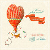 Wedding card or invitation with hot air balloon and floral background.