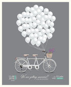 Postcard invitation to the wedding. Tandem bike and balloons. Vector illustration in vintage style.
