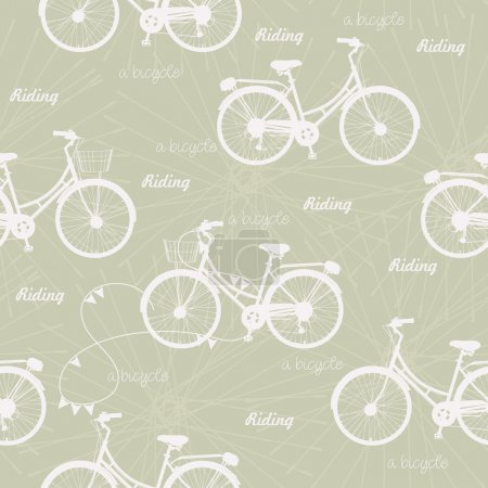 Seamless pattern with vintage bicycles on beige background in retro style.