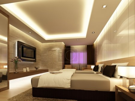 Photo for 3d render of bedroom - Royalty Free Image