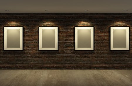 Picture frame on the old brick wall with concrete floor at night,3d