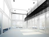 Nákres konstrukce interiéru haly, drátěný model