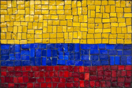 Old mosaic flag of Colombia close up...