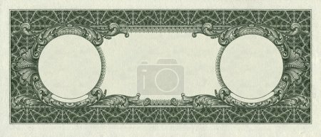 back side of one dollar bill isolated clipping path