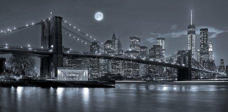 Photo pour Panoramik New York'un Manhattan şehir manzarası ile gökdelenler ve mavi Tonalite gece - image libre de droit