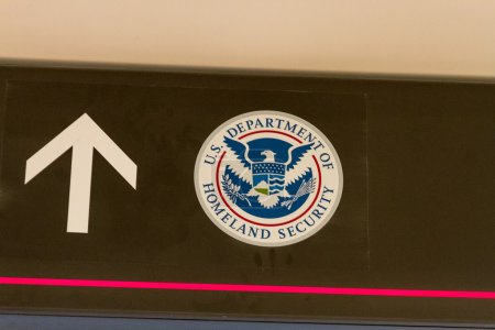 US Department of Homeland Security sign in airport...