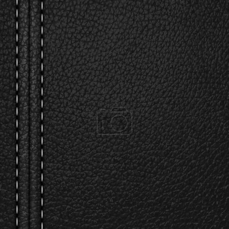 Black leather background with white stitching...