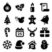 Christmas icon set in black