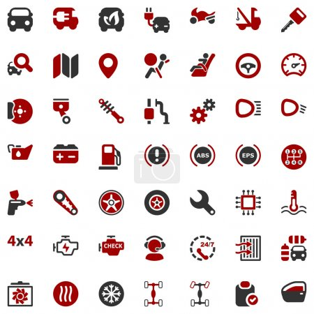 Illustration for Set of icons for the car industry and tranport - Royalty Free Image