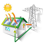 Illustration of a house equipped for sale and use solar energy isolated