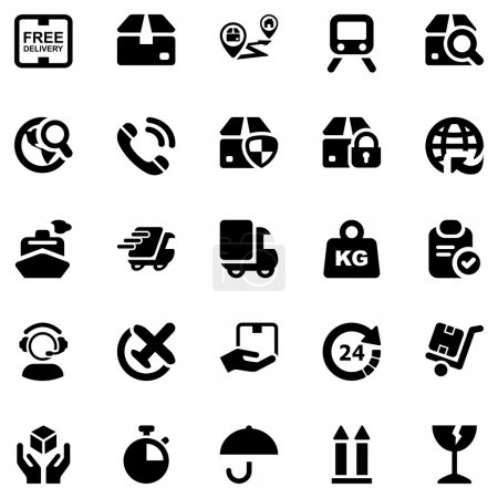 Set of icons isolated for logistics in black...