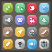 flat food icons with shadow-2