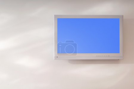White television set is on wall
