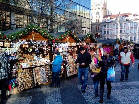 Christmas market on Vaclavske namesti, Prague, Czech Republic