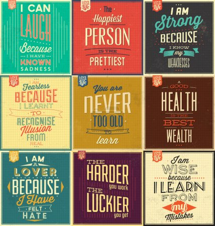 Illustration for Set Of Vintage Typographic Backgrounds, Motivational Quotes, Retro Colors With Calligraphic Elements - Royalty Free Image