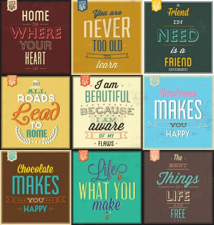 Illustration for Set Of Vintage Typographic Backgrounds - Motivational Quotes - Retro Colors With Calligraphic Elements - Royalty Free Image