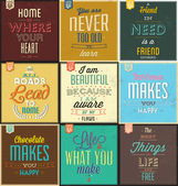 Set Of Vintage Typographic Backgrounds - Motivational Quotes - Retro Colors With Calligraphic Elements