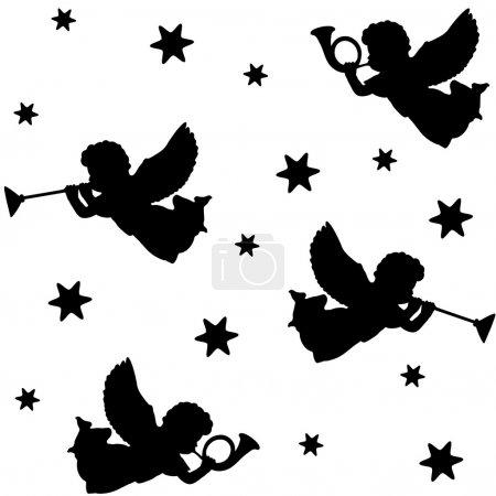 Illustration pour Modèle sans couture de Noël avec des silhouettes d'anges, trompettes et étoiles noires icônes, fond illustration vectorielle - image libre de droit