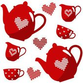Christmas seamless coffee tea set isolated vector illustration with nordic pattern