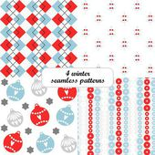 4 different winter christmas vector seamless patterns (tiling) christmas balls rectangle and floral shape