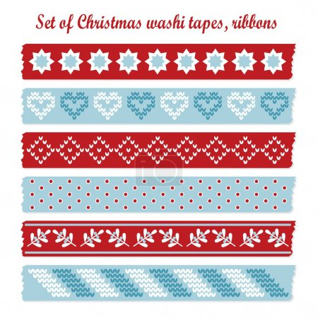 Set of vintage christmas washi tapes, ribbons, vector elements, cute design patterns