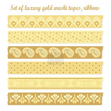 Set of luxury vintage gold washi tapes, ribbons, vector elements, cute design patterns