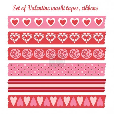 Set of romantic Valentine vintage washi tapes, ribbons, vector elements, cute design patterns