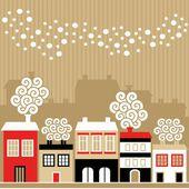 Roztomilý vánoční přání s zimní domy, padající sněhové vločky, vektorové ilustrace