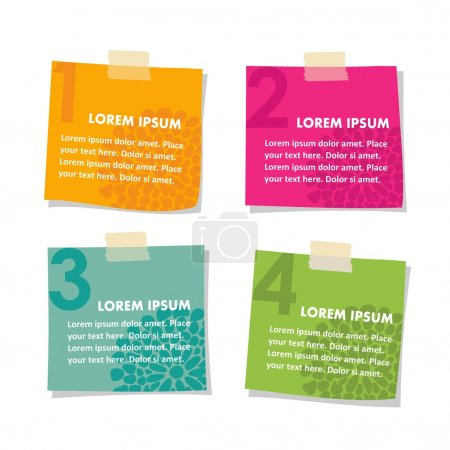 Set of post it stick notes papers, vector illustration isolated on white background