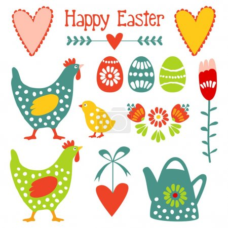 Cute easter elements set with eggs, hens, hearts and flowers, vector illustration