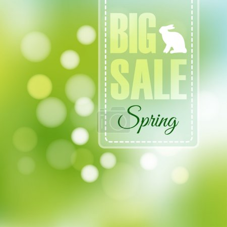Spring sale poster with blurred background and bokeh lights, vector illustration
