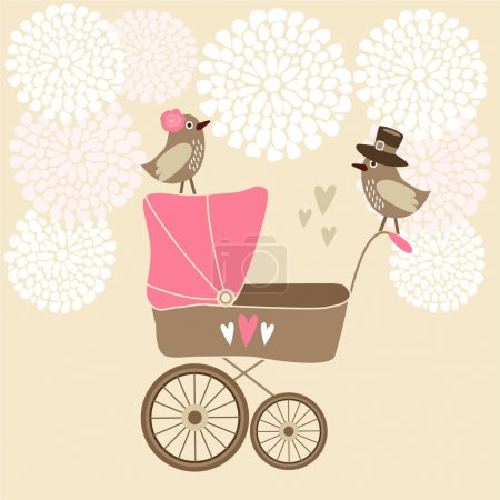 Cute baby shower invitation, birthday card with baby carriage, birds and flowers, vector illustration background