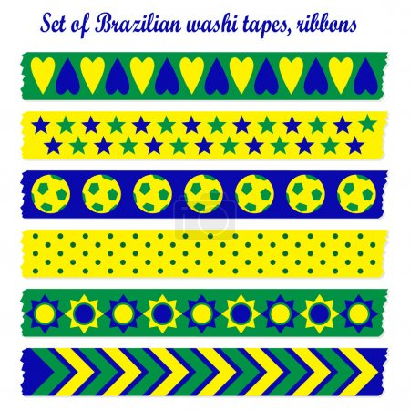 Set of washi tapes, ribbons in Brazilian colors, vector elements, cute design patterns
