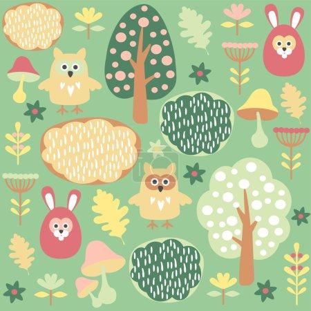 Illustration pour Mignon motif vecteur forestier sans couture coloré avec des animaux lièvre et chouette - image libre de droit