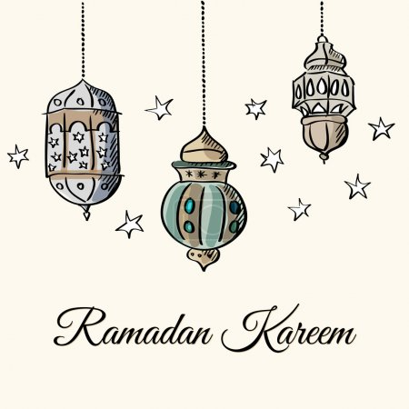 Illuminated arabic lamps, lanterns with lights and stars, vector illustration background for muslim community holy month Ramadan Kareem