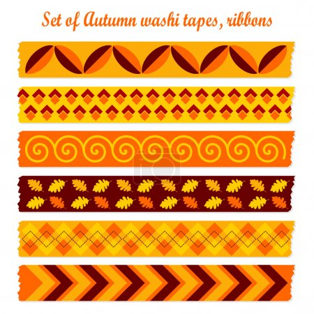 Set of autumn fall vintage washi tapes, ribbons, vector elements, cute design patterns