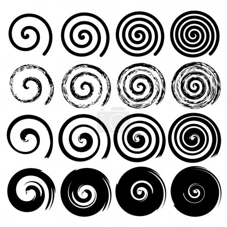 Illustration for Set of spiral motion elements, black isolated objects, different brush texture, vector illustrations - Royalty Free Image