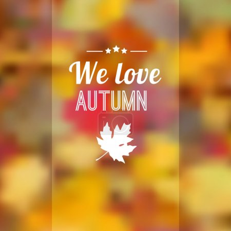 Illustration for Autumn fall blurred background with maple leaves, vector illustration - Royalty Free Image
