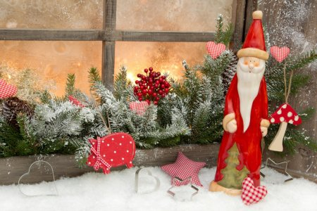 Natural christmas decoration with santa claus
