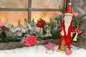 Natural christmas decoration with santa claus