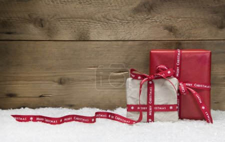 Red and white Christmas presents