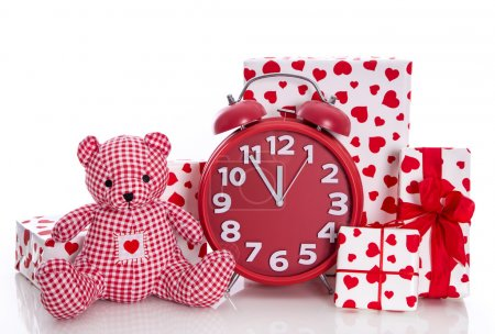 Presents with clock and teddy bear