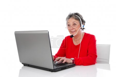 Mature woman with headset